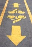 Bicycle lane symbol close up Royalty Free Stock Photos
