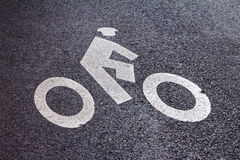 Bicycle Lane Symbol in New York City Stock Photography