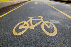 Bicycle lane. Bicycle symbol in bicycle lane in the park Stock Photo