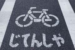 Bicycle lane in Tokyo Royalty Free Stock Images