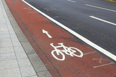 Bicycle lane in UK Stock Images