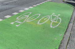 Bicycle Lane in Vancouver. Bicycle Lane in Downtown Vancouver, Canada Royalty Free Stock Photo