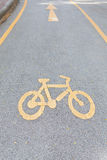 Bicycle Lane in yellow color. Bicycle Lane in a park Stock Photography