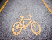 Bicycle lane with sign Royalty Free Stock Image