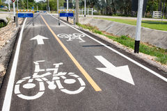 Bicycle lanes. The icon on the way and sign at next which is bicycle lanes only royalty free stock photos