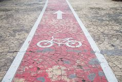 Bicycle lanes in the road. Bicycle lanes symbol safety and show zone bicycle royalty free stock photos