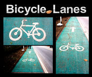 Bicycle Lanes on the road Royalty Free Stock Photo
