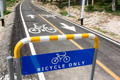 Bicycle lanes. The sign and icon which is bicycle lanes only stock images