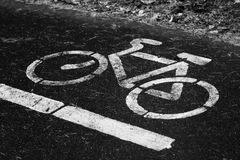 Bicycle lanes sign in park. Outdoor object royalty free stock photo