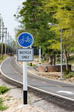 Bicycle lanes. The bicycle only sign at the wayside of bicycle lanes royalty free stock image