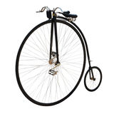 Bicycle with a large front wheel. Stock Images