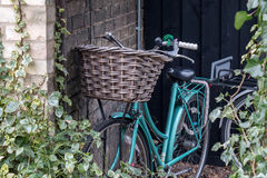 Bicycle lean on Brick Wall. Bicycle lean on a Brick Wall covered with Plant royalty free stock photography