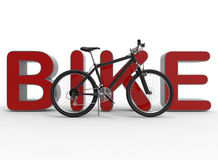 Bicycle leaning on bike text. 3D rendered illustration of a bicycle that is leaning on a red 3D bike text. The composition is isolated on a white background with Royalty Free Stock Photos