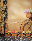 Bicycle leans against the wall Stock Photo