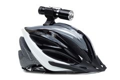 Bicycle LED torch. For night riding installed on a mountain bike helmet isolated royalty free stock photos
