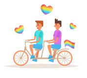 Bicycle LGBTQ Vector. Cartoon. Stock Photography