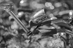 Bicycle light in a bokeh background stock photography