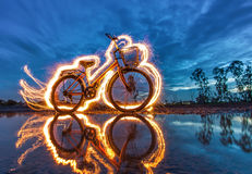 Bicycle light painting Stock Photography