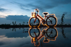 Bicycle light painting Royalty Free Stock Image