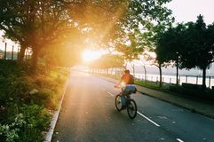 Bicycle and light. Take the photo in Hong Kong tai po Stock Image