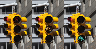 Bicycle lights on the crossroad in New York City Royalty Free Stock Images