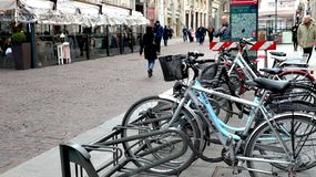 Bicycle line in milan italy stock photos