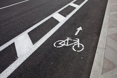 Bicycle line on the road Royalty Free Stock Photo