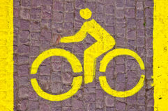 Bicycle line sign Royalty Free Stock Photos