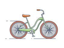 Bicycle line style. Bike transport, vehicle and travel, transportation activity, vector linear style stock illustration