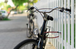 Bicycle locked up. Royalty Free Stock Photography