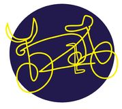 Bicycle logo. Simple lines vector illustration Royalty Free Stock Image