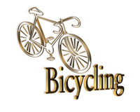 Bicycle Logo Gold Black. Black and gold 3D illustration for bicycling icon or bicycle store business card logo Royalty Free Stock Images