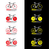 Bicycle logo 4 style and red yellow color tone vector design royalty free illustration