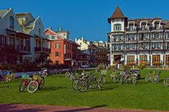 Bicycle Lot on Green Field Royalty Free Stock Images