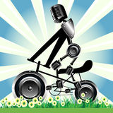 Bicycle loudspeaker wheels Stock Photography