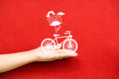 Bicycle lovely from hand Royalty Free Stock Image