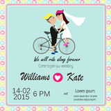 Bicycle lover couples wedding invitation Stock Image