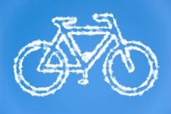 Bicycle made out of clouds Royalty Free Stock Images
