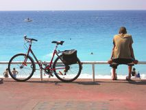 Bicycle and man royalty free stock image