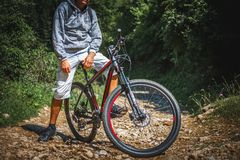 Bicycle. Man on  mountain bike in woods Royalty Free Stock Photo