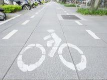 Bicycle mark on sidewalk Royalty Free Stock Photos