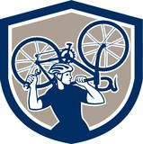 Bicycle Mechanic Carry Bike Shield Retro Royalty Free Stock Photography