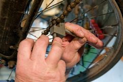 Bicycle mechanic at work Royalty Free Stock Images