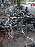 Bicycle mess in Amsterdam. Holland Royalty Free Stock Photo