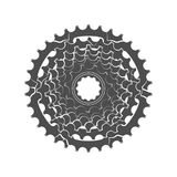 Bicycle monochrome sprocket. On the white background Royalty Free Stock Photography