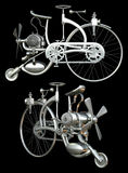 Bicycle with motor. Illustrations of retro chrome bicycle with motor in 3D render on black background stock photography