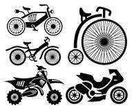Bicycle and motorbike icons collection Royalty Free Stock Photo