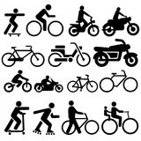 Bicycle motorcycle silhouettes. Assorted bicycle moped motorcycle and skate board silhouettes Royalty Free Stock Images