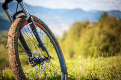Bicycle. Mountain bike front wheel on the  hill Royalty Free Stock Photos