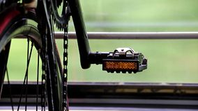 Bicycle in a moving train stock footage